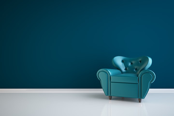 High resolution 3D render blue interior