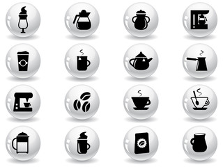 Web buttons, coffee icons