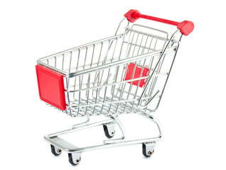 Shopping cart with red handle