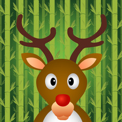 Reindeer with bamboo background