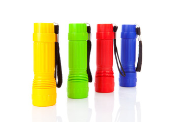 Four colorful flashlights