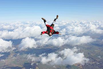 Skydiver flies head down