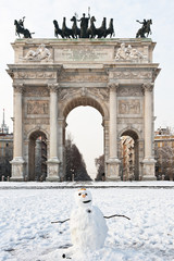 Arco della Pace in Milan with snow