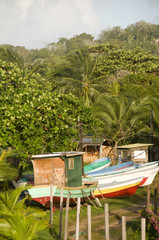fishing boats in jungle Big Corn Island Nicaragua