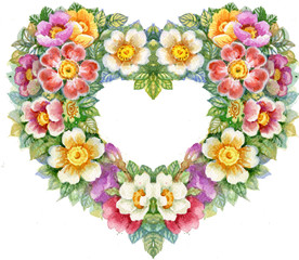 Floral Blank Frame-Heart