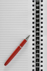 red pen and notebook