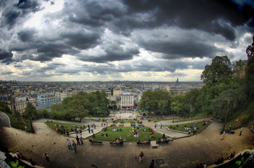 View from Montmartre on a stormy day