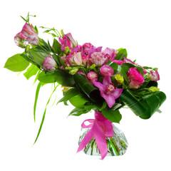 buquet of roses, cymbidiums and lisianthus