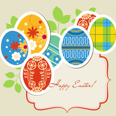 Easter eggs vector frame