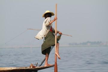 pêcheur sur le lac Inlé - Myanmar