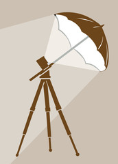 tripod silhouette on brown  background
