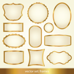 Set of gold vector frames