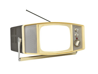 1960's Portable TV with blanked screen and antenna.