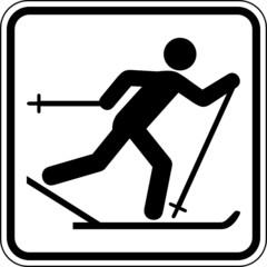 Fototapete - Skilanglauf Skifahrer Schild Zeichen Symbol Sport