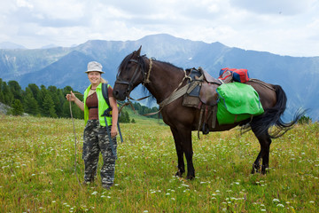 rider and horse with saddlebags