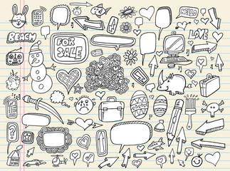 Doodle Speech Bubble Design Elements Vector Set