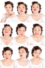 Set of useful woman faces isolated on white