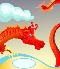 Red Dragon with blank space for text