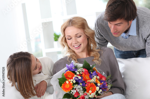 Mother's day celebration in family