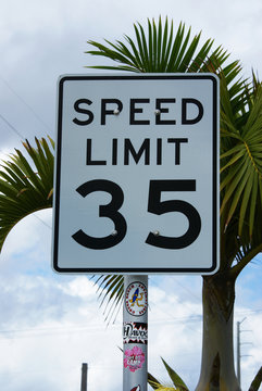 American 35 mph speed limit road sign in Cocoa Beach, Florida