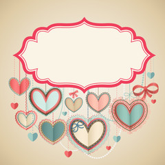 Wall Mural - Valentine`s Day vintage card with lacy paper hearts