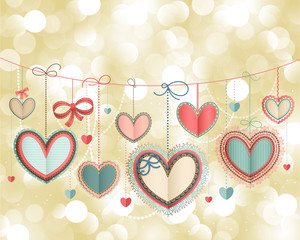 Wall Mural - Valentine`s Day vintage card with lacy paper