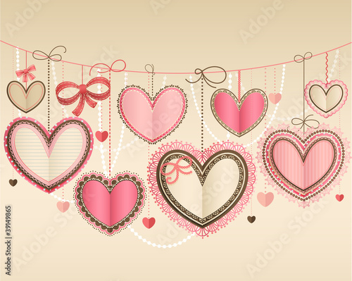 Wall mural Valentine`s Day vintage card with lacy paper