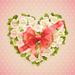 Wall Mural - Valentine`s Day card with roses