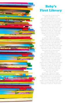 Pile of colourful children books isolated on white. First baby l