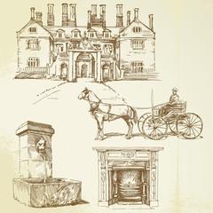 victorian england - hand drawn set