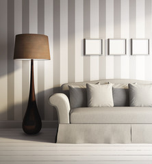 3d modern Classic interior with stripes wallpaper, sofa, frames