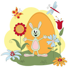 Easter greeting card with rabbit and flowers