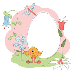 Easter greeting card with chichen