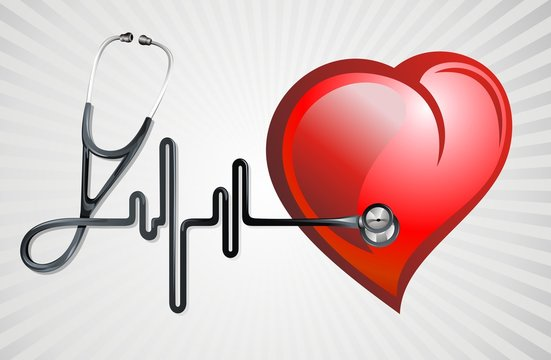 Vector illustration of a stethoscope with a red heart