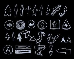 Hand-drawn arrows set on black