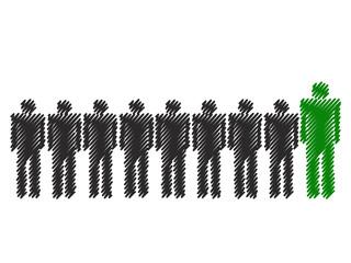 Green Business Men in Row