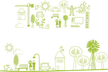 vector - city, nature elements
