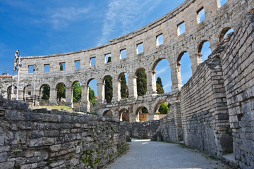 Fotomurales - ancient amphitheater in Pula, Croatia