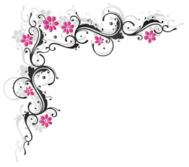 Ranke, flora, Blumen, Blüten, schwarz, rosa, pink