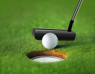 closeup golf ball and tee