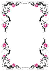 Rosen, Ranke, flora, Blumen, Rahmen, schwarz, pink
