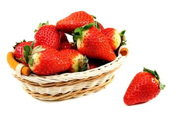 Ripe strawberries in basket.