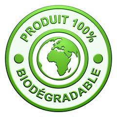 """Cachet """"Produit 100% Biodégradable"""""""