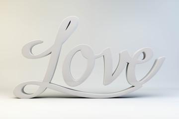 Love - Kalligrafie, weiß