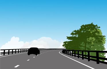 modern road under blue sky