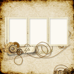 Stamp-frames on the vintage background