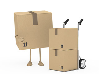 package figur and hand truck