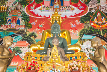 Row of Lord Buddha on traditional thai style painting background