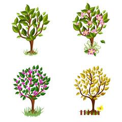 set of decorative trees Seasons