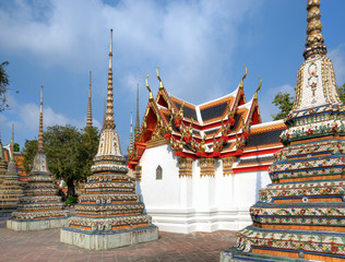 Thai style Pagodas and small temple in Bangkok